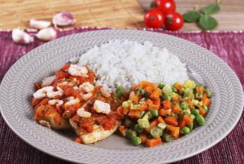 Filé de peixe grelhado c/ molho de camarão