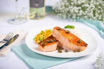 Salmão grelhado c/ legumes